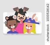 millennials wearing animal... | Shutterstock .eps vector #1033528162