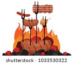 grilled barbecue beef steak... | Shutterstock .eps vector #1033530322