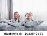 happy kids playing in white... | Shutterstock . vector #1033541836