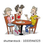 three friends eating and talking | Shutterstock .eps vector #1033546525