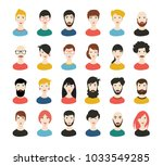 people heads icons. face avatar.... | Shutterstock .eps vector #1033549285