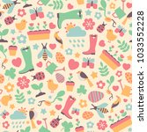 seamless pattern with spring... | Shutterstock .eps vector #1033552228