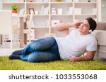 young man student listening to... | Shutterstock . vector #1033553068