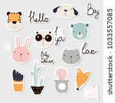 set of cute stickers with... | Shutterstock .eps vector #1033557085