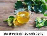 healthy herbal linden tea with... | Shutterstock . vector #1033557196