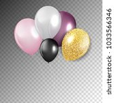 glossy happy birthday balloons... | Shutterstock .eps vector #1033566346