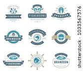 seafood restaurant logos set... | Shutterstock .eps vector #1033567576