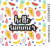 hello summer text with tropical ... | Shutterstock .eps vector #1033568815