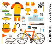 cycling on bike vector bicycle... | Shutterstock .eps vector #1033570012