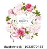 vector vintage floral wreath... | Shutterstock .eps vector #1033570438