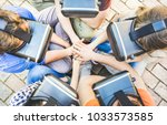 top view of friends group... | Shutterstock . vector #1033573585