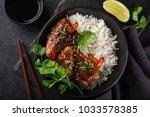 bowl of teriyaki chicken wings...   Shutterstock . vector #1033578385