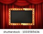 gold frame with light bulbs on...   Shutterstock .eps vector #1033585636