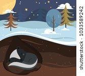let it snow. skunk sleeping in... | Shutterstock .eps vector #1033589242