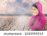 woman with flu sneezing  woman... | Shutterstock . vector #1033595515