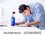 man alone preparing for... | Shutterstock . vector #1033600042