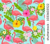 seamless pattern with flamingo  ... | Shutterstock .eps vector #1033603522
