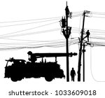 editable vector silhouette of... | Shutterstock .eps vector #1033609018