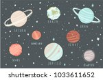 space planets  asteroid vector... | Shutterstock .eps vector #1033611652