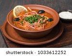 meat solyanka soup   Shutterstock . vector #1033612252