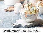 homemade organic vanilla ice...   Shutterstock . vector #1033623958