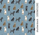 pattern with dogs colorful... | Shutterstock .eps vector #1033651282