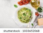 spaghetti pasta with basil... | Shutterstock . vector #1033652068