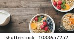 homemade granola and healthy... | Shutterstock . vector #1033657252