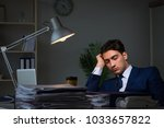 businessman tired and sleeping... | Shutterstock . vector #1033657822