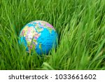 small globe in the grass....   Shutterstock . vector #1033661602