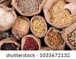 various grains and cereals in... | Shutterstock . vector #1033672132