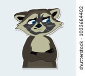 raccoon with an emotion of... | Shutterstock .eps vector #1033684402