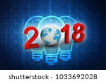 happy new year 2018 with earth... | Shutterstock . vector #1033692028