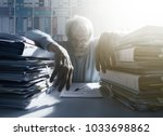 stressed overloaded office... | Shutterstock . vector #1033698862