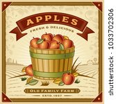 retro apple harvest label with... | Shutterstock .eps vector #1033702306