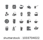 set of coffee and tea outline... | Shutterstock .eps vector #1033704022