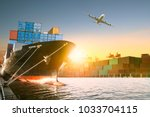 ship and container box and... | Shutterstock . vector #1033704115