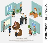 trendy isometric people and... | Shutterstock .eps vector #1033707622
