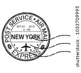 postmark new york. vector... | Shutterstock .eps vector #1033709995