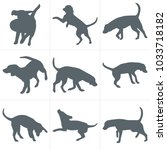 vector dogs silhouettes. set of ... | Shutterstock .eps vector #1033718182