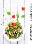 fresh vegetable salad with... | Shutterstock . vector #1033719118