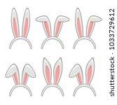 easter rabbit ears masks set.    Shutterstock . vector #1033729612