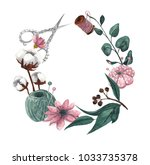 wreath with sewing items and... | Shutterstock . vector #1033735378