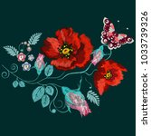 embroidery roses  poppies and... | Shutterstock .eps vector #1033739326