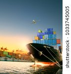 ship and container box and... | Shutterstock . vector #1033745005