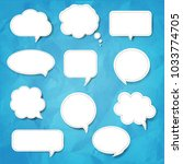 speech bubble set blue... | Shutterstock . vector #1033774705