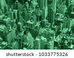 green colored buildings aerial... | Shutterstock . vector #1033775326