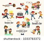 set happy fathers day greeting... | Shutterstock .eps vector #1033783372