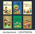 set happy fathers day greeting... | Shutterstock .eps vector #1033783396