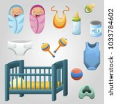 set of kid stuff  food and toys.... | Shutterstock .eps vector #1033784602
